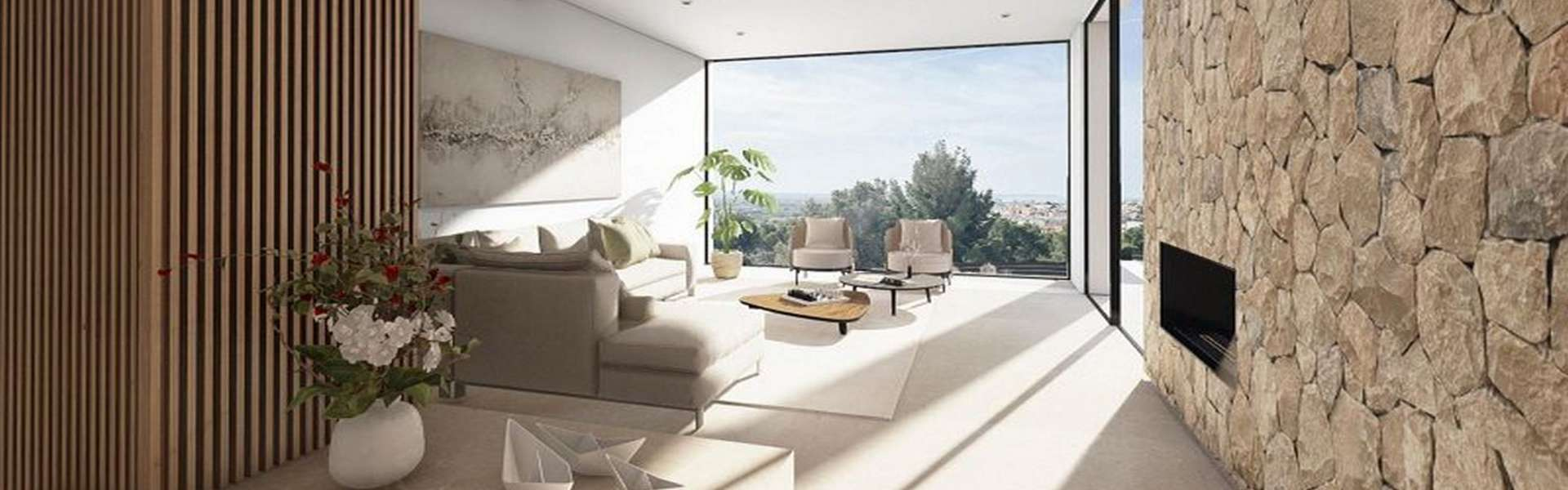New build villa with wide views over the bay of Palma